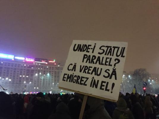 statul paralel pancarta protest