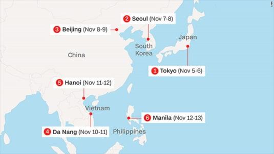 turneul lui Trump in Asia