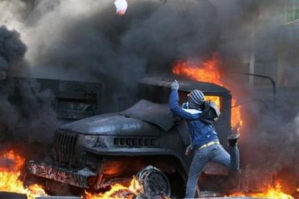 Ucraina masina incendiu
